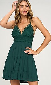 Image of crocheted-bodice short hunter green casual dress. Style: LAS-LOV-21-ND2273 Front Image