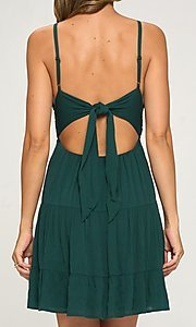 Image of crocheted-bodice short hunter green casual dress. Style: LAS-LOV-21-ND2273 Back Image