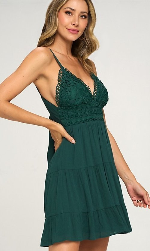 Image of crocheted-bodice short hunter green casual dress. Style: LAS-LOV-21-ND2273 Detail Image 1