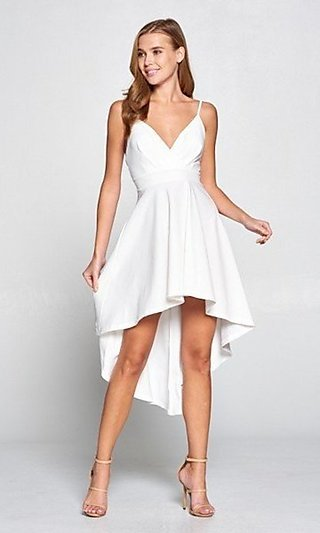 A-Line Empire Waist White High-Low Party Dress