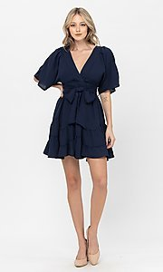 Image of short sleeve short casual party dress with bow. Style: LAS-TCC-21-LD3877 Detail Image 5