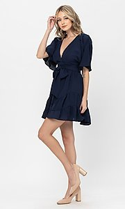 Image of short sleeve short casual party dress with bow. Style: LAS-TCC-21-LD3877 Detail Image 1