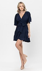 Image of short sleeve short casual party dress with bow. Style: LAS-TCC-21-LD3877 Detail Image 2