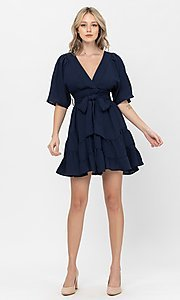 Image of short sleeve short casual party dress with bow. Style: LAS-TCC-21-LD3877 Detail Image 3