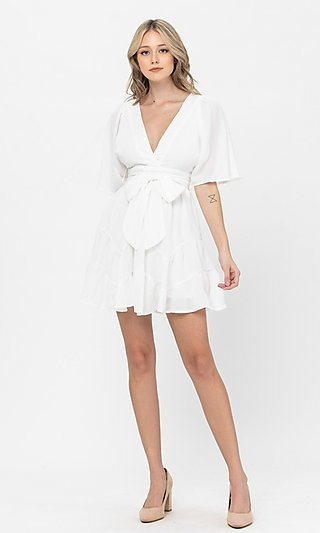 Short Sleeve Short Casual Party Dress with Bow