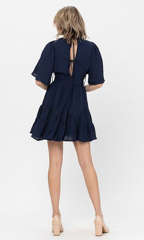 Image of short sleeve short casual party dress with bow. Style: LAS-TCC-21-LD3877 Back Image