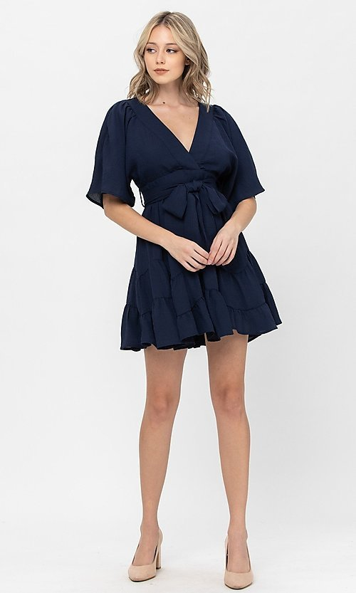 Image of short sleeve short casual party dress with bow. Style: LAS-TCC-21-LD3877 Detail Image 4