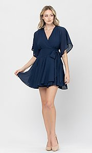 Image of short a-line ruffle party dress for weddings. Style: LAS-TCC-21-LD3979 Detail Image 1