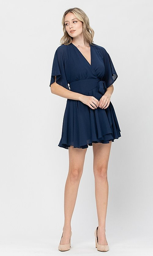 Image of short a-line ruffle party dress for weddings. Style: LAS-TCC-21-LD3979 Detail Image 7