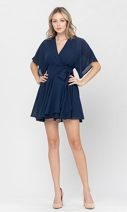 Image of short a-line ruffle party dress for weddings. Style: LAS-TCC-21-LD3979 Detail Image 4