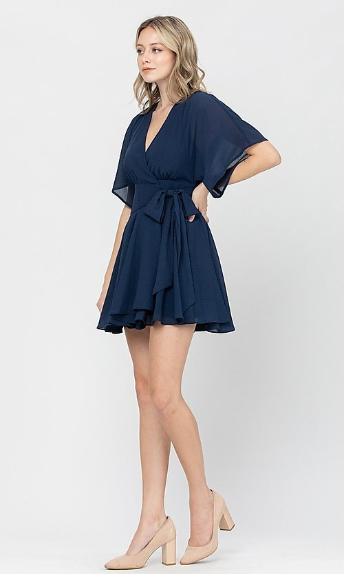 Image of short a-line ruffle party dress for weddings. Style: LAS-TCC-21-LD3979 Detail Image 5