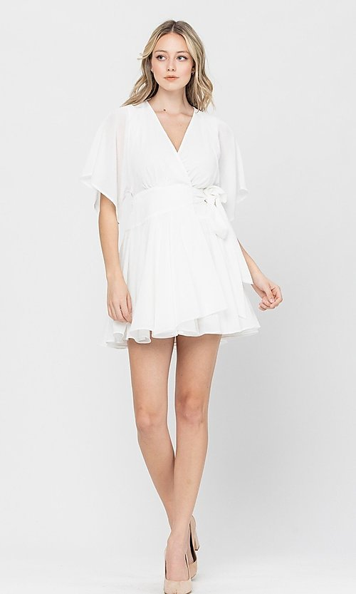 Image of short a-line ruffle party dress for weddings. Style: LAS-TCC-21-LD3979 Detail Image 2