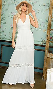 Image of crocheted lace long casual maxi party dress. Style: LAS-SWE-21-SD123 Front Image