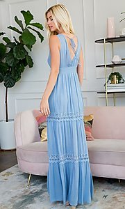 Image of crocheted lace long casual maxi party dress. Style: LAS-SWE-21-SD123 Back Image