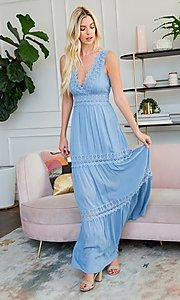 Image of crocheted lace long casual maxi party dress. Style: LAS-SWE-21-SD123 Detail Image 1