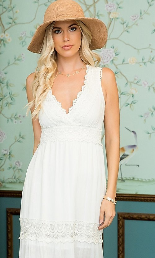 Image of crocheted lace long casual maxi party dress. Style: LAS-SWE-21-SD123 Detail Image 2