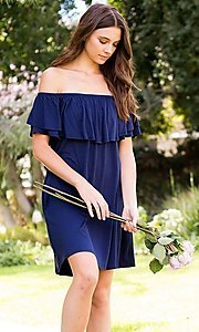 Image of off-the-shoulder short casual navy blue dress. Style: LAS-SWE-21-SD5130-3 Front Image