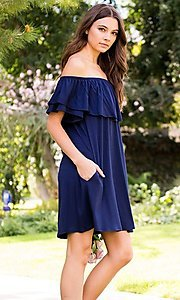 Image of off-the-shoulder short casual navy blue dress. Style: LAS-SWE-21-SD5130-3 Detail Image 1