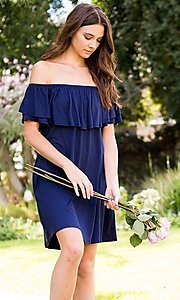 Image of off-the-shoulder short casual navy blue dress. Style: LAS-SWE-21-SD5130-3 Detail Image 2