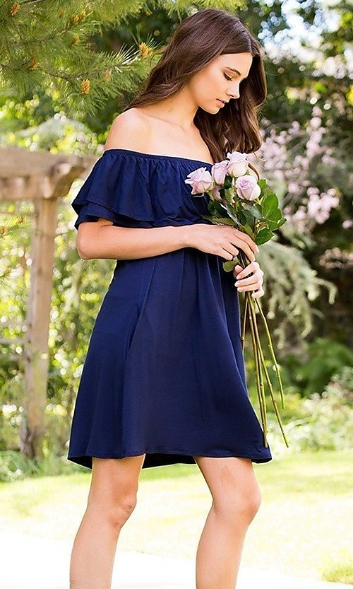 Image of off-the-shoulder short casual navy blue dress. Style: LAS-SWE-21-SD5130-3 Detail Image 3