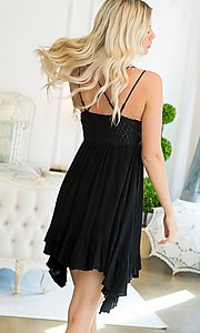 Image of empire-waist short casual party dress. Style: LAS-SWE-21-SW506 Back Image