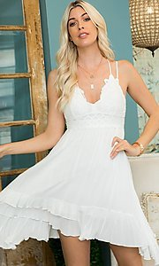 Image of empire-waist short casual party dress. Style: LAS-SWE-21-SW506 Detail Image 3