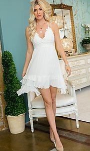 Image of empire-waist short casual party dress. Style: LAS-SWE-21-SW506 Front Image
