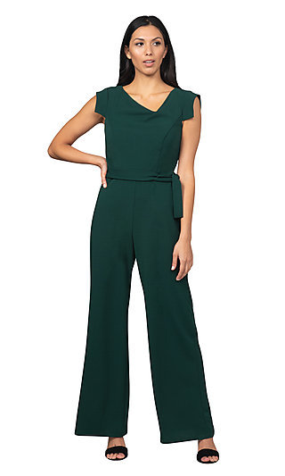 Cap Sleeve Hunter Green Formal Jumpsuit