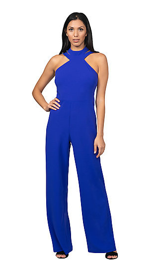 Double Strap High-Neck Formal Halter Jumpsuit