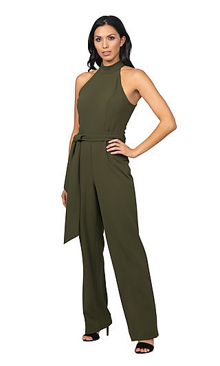 High-Neck Formal Bebe Jumpsuit with Belt Tie