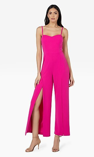 Bebe Formal Jumpsuit with Open Pant Legs