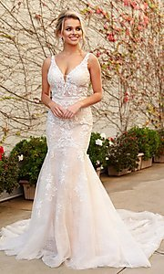 Image of long white lace mermaid formal gown with train. Style: NA-21-H493 Front Image