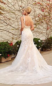 Image of long white lace mermaid formal gown with train. Style: NA-21-H493 Back Image