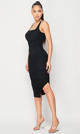 Short Ruched Sleeveless Bodycon Midi Party Dress