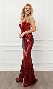 Image of burgundy red long formal prom dress with sequins. Style: NA-21-R429 Detail Image 5
