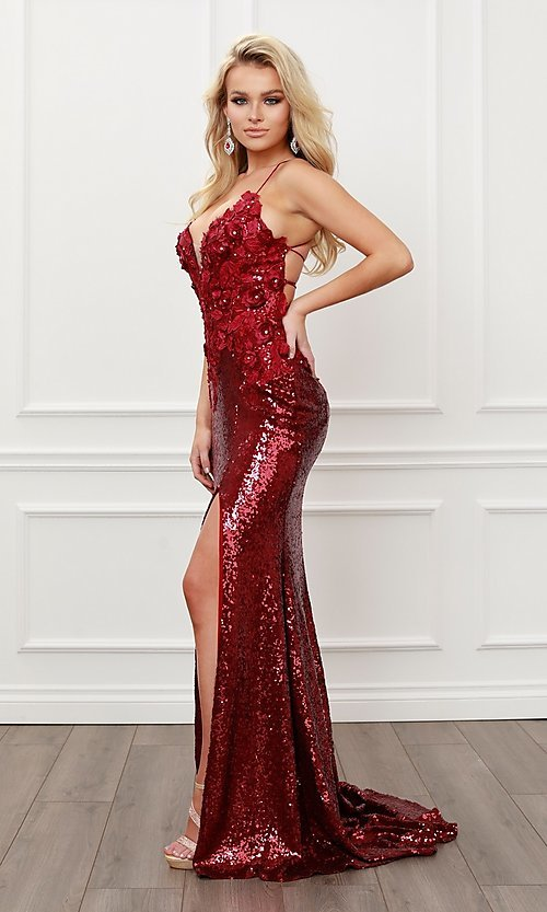 Image of burgundy red long formal prom dress with sequins. Style: NA-21-R429 Detail Image 1