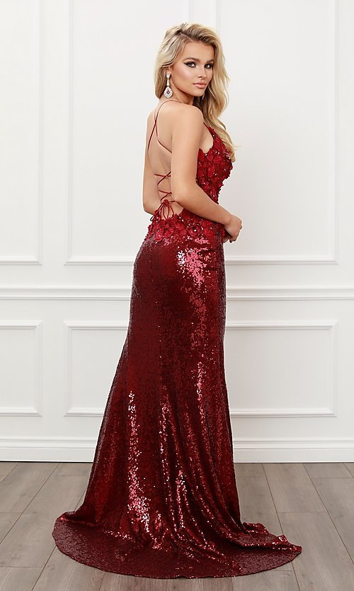 Image of burgundy red long formal prom dress with sequins. Style: NA-21-R429 Back Image