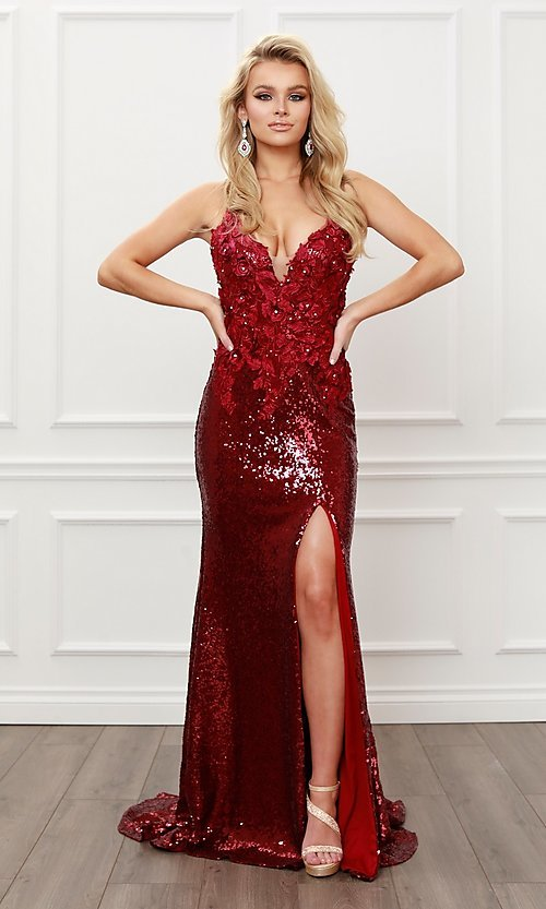Image of burgundy red long formal prom dress with sequins. Style: NA-21-R429 Front Image