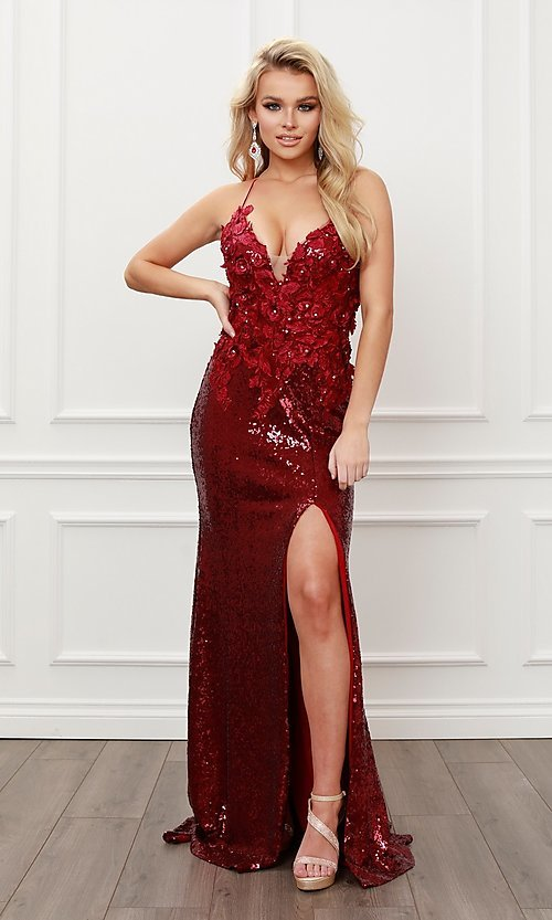 Image of burgundy red long formal prom dress with sequins. Style: NA-21-R429 Detail Image 2