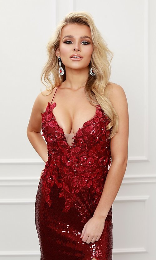 Image of burgundy red long formal prom dress with sequins. Style: NA-21-R429 Detail Image 3
