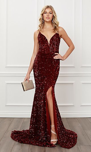 Back Cut-Out Burgundy Red Sequin Formal Prom Dress