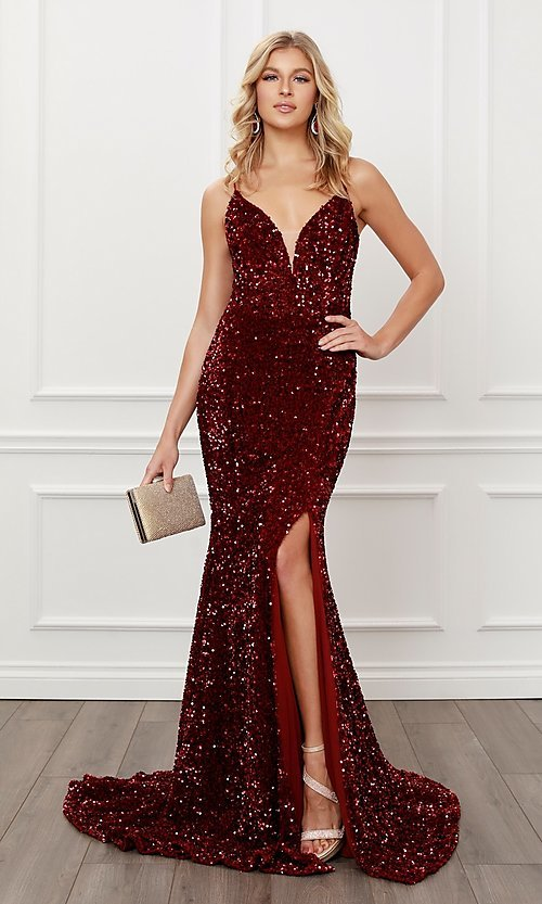 Image of back cut-out burgundy red sequin formal prom dress. Style: NA-21-R433 Front Image