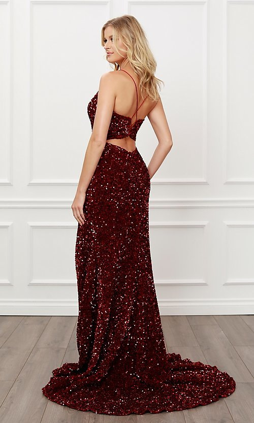 Image of back cut-out burgundy red sequin formal prom dress. Style: NA-21-R433 Back Image
