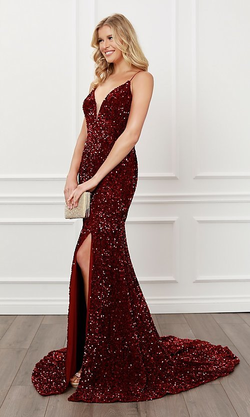 Image of back cut-out burgundy red sequin formal prom dress. Style: NA-21-R433 Detail Image 1