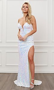 Image of iridescent-sequin long white open-back prom dress. Style: NA-21-S458 Front Image