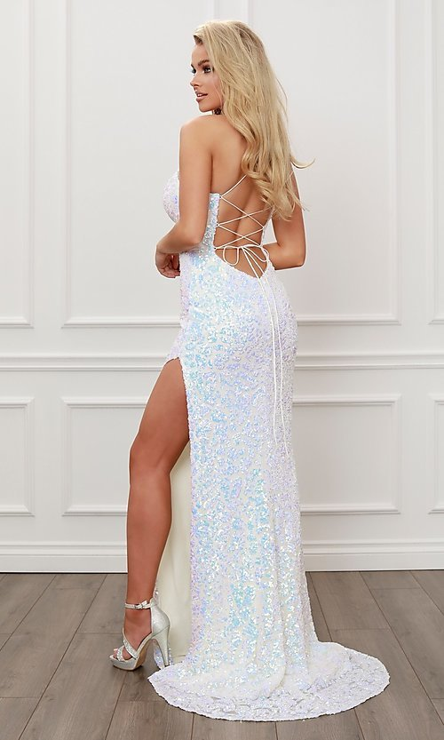 Image of iridescent-sequin long white open-back prom dress. Style: NA-21-S458 Back Image