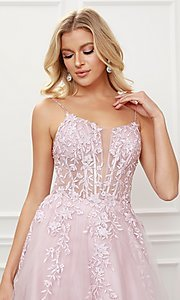 Image of blush pink embroidered corset ball gown for prom. Style: NA-21-T449 Detail Image 1