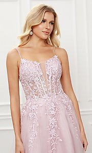 Image of blush pink embroidered corset ball gown for prom. Style: NA-21-T449 Detail Image 2