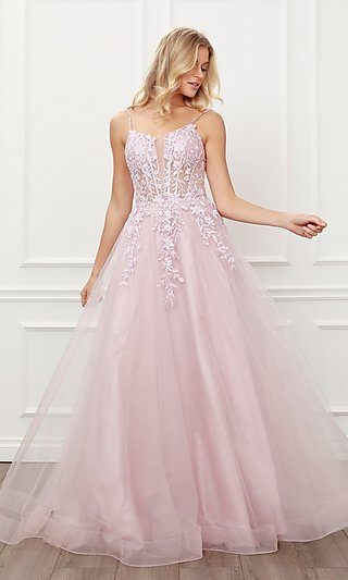 Blush Pink Embroidered Corset Ball Gown for Prom