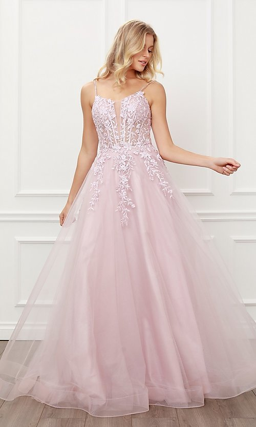 Image of blush pink embroidered corset ball gown for prom. Style: NA-21-T449 Front Image